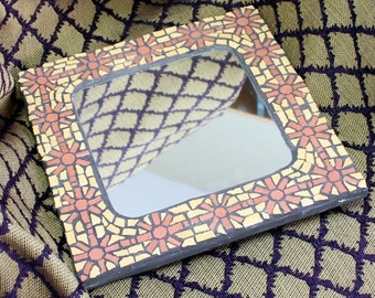 Stained glass Mosaic, Mosaic Mirror, abstract flower pattern