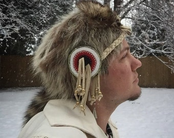 Native American beaded raccoon coonskin hat Authentic Native American made