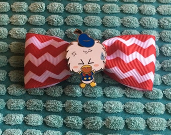 Angry Donald Duck red and white stripe hair bow