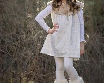 Girls Dress Pattern, Dress Sewing Pattern, Bishop Dress, Easy Sewing Pattern, Faux Fur, Aline Dress, Dakota