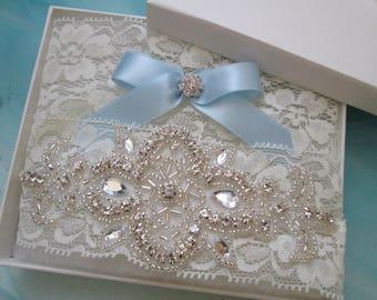 Ivory Lace Wedding Garter Set, Rustic Lace Bridal Garter, Ivory-Cream Prom Garters, Rhinestones, Something Blue, Rustic- Country Bride