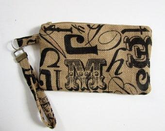 Printed Burlap Wristlet, Alphabet Graphics, Wristlet, Zippered Purse, Women, Zippered Wristlet, Bags & Purses, Handbags,Burlap Fabric, Women