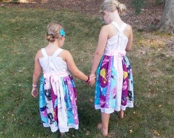 Princess Twirly Dress:  patchwork dress, belle, elsa, anna, cinderella, villains, sofia, aurora, lace, birthday, meet and greet, vacation