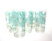 Aqua Flowers Mid-Century Drinking Glasses Tumblers x 8