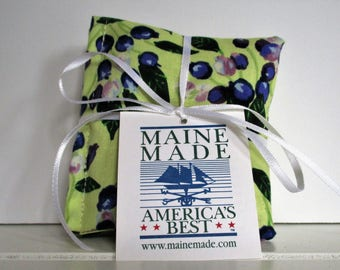 Maine Balsam Fir Sachet set of 3 Blueberry Fabric Ready to Ship