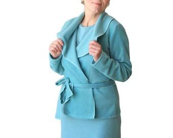 Wrap jacket, Fleece sweater, Blue jacket, Long sleeve sweater, Shawl collar fleece wrap sweater, Plus size clothing, XL, XXL, Fleece, Winter