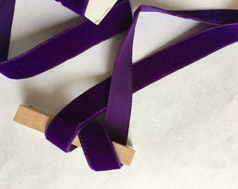 Vintage velvet dark royal purple ribbon