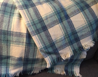 Blue Plaid Wool Blanket Throw