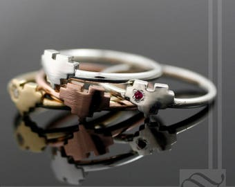 Pixelated Heart Ring - Ladies - Sterling Silver