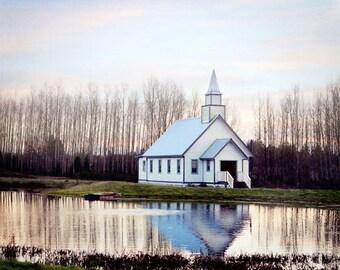 Church Photo, White Church Photograph, Hope Valley Church, Country Church Photo, Farmhouse Decor, Church Canvas Art, When Calls the Heart
