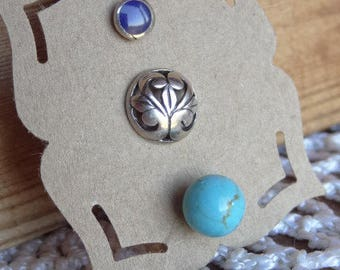 Vintage Mismatch Sterling Silver Trio of Single Studs. Filigree Sterling. Turquoise and Deep Blue Inlay Studs