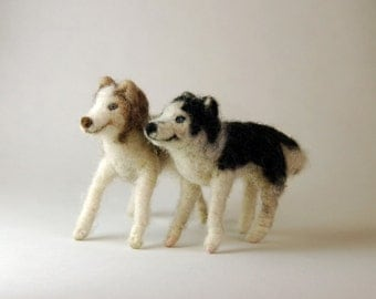 Needle felted animal dog husky Waldorf toy posable custom made design by Borbala Arvai, made to order
