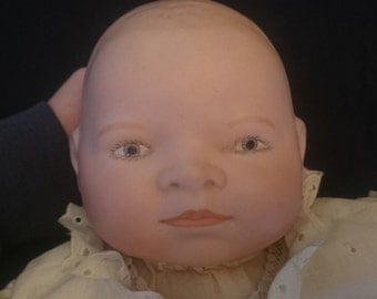 Vintage Grace S Putnam Bisque Porcelain and Cloth Baby Doll Reproduction Art Doll by Clara Banks 24 Inch