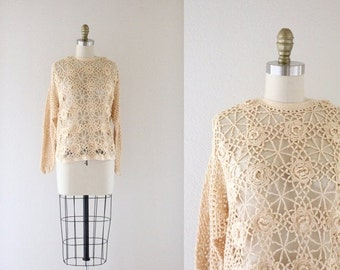 ON SALE cotton crochet sweater / one size