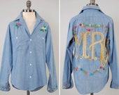 Vintage 70s embroidered chambray button down shirt / Montgomery Ward work shirt / MRS floral embroidery on back / Vintage workwear
