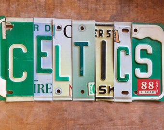 BOSTON CELTICS basketball NBA sports upcycled license plate art sign shamrock Kelly green tomboyART tomboy