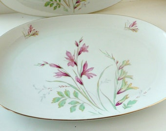 "Edelstein Bavaria China Alamedo 15""Large Oval Platter Mid Century Germany Floral Spray"