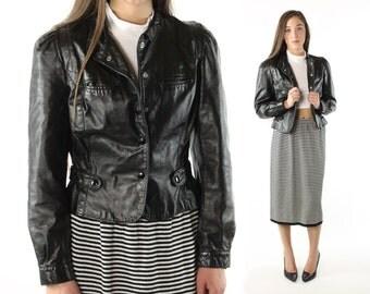 Vintage 80s Black Leather Jacket Puff Sleeves Biker Motorcycle Cropped 1980s OPERA Small S Medium M