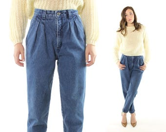 Vintage 80s High Waisted Jeans LEVIS Blue Denim Trousers Cropped Tapered Leg Pleated 1980s Small S