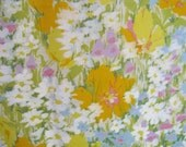 "Vintage Cohama Vat Hand Print ""Meadow"" Semi-sheerFloral  Fabric, 51"" x Almost 2 YDs"