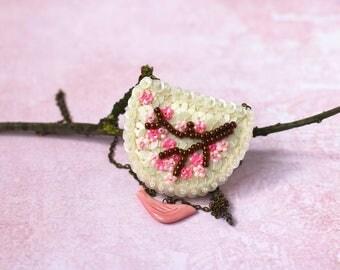 Sakura Twig Necklace, Pink Bird Pendant, Felt Sequin Embroidery, Cherry Blossom Tree, Bib Statement Necklace, Japan Spring Flowers