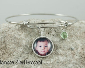 Custom Photo Bracelet, Personalized Charm Bracelet, Birthstone Bracelet, Adjustable Bangle Bracelet