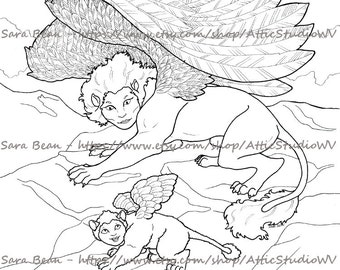 Adult Coloring Book ONE SINGLE PAGE to Color 8.5 by 11 Inches, Sphinx w Cub Mama Baby Creature Infant, Colored Pencil Ink Fantasy Mythology