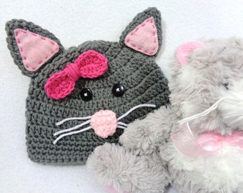 Gray Kitty Cat Baby Hat, Crochet Feline Cap, MADE TO ORDER by Charlene, Baby Photo Prop, Gift for Baby Girl, Shower Gift for Cat Lover