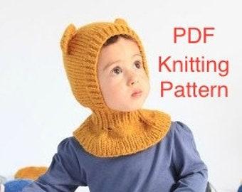 PDF Honey Bear Balaclava Hat Knitting Pattern