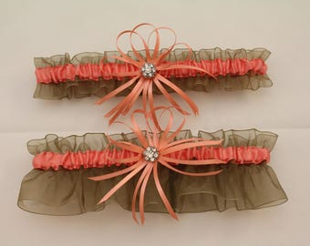 Sheer Old Willow and Coral Wedding Garter, Bridal Garter, Prom Garter  (Your Choice, Single or Set)