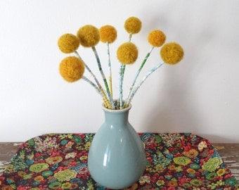 Craspedia, Billy balls, Billy buttons WITH Vase.  Mustard Pom pom Flowers.  Round Yellow Flowers.  Wool pompoms.  Blue Vase Centerpiece
