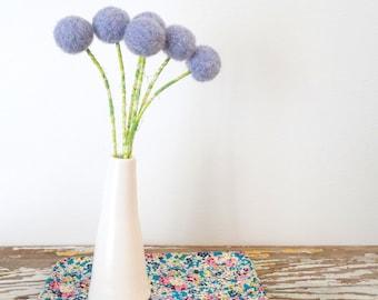 Purple Wool Pom Pom Flowers.  Felt Ball Flowers.  Modern bouquet.  Faux flowers.  Billy balls, Craspedia, Billy Buttons, Lavender, Lilac