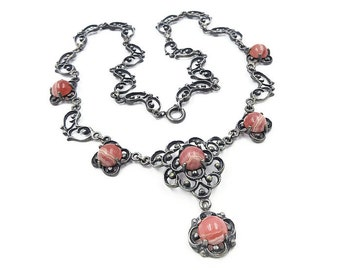 Art Deco Nouveau Germany Silver Agate Necklace - Rhodochrosite, Pink Agate, 835 Silver, German Jugendstil, Art Deco Jewelry