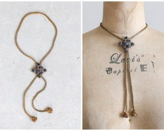 Vintage 1940s Brass and Blue Glass Adjustable Lariat Necklace