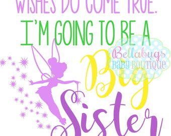 Tinkerbell I'm Going to be a Big Sister IRON ON TRANSFER - Tshirt - Bodysuit - Girl - Tote Bags - Pregnancy Announcement
