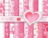 20 Sweetheart Papers: Valentines Papers, Romantic Digital Paper, Heart Paper, Pink Flower Paper, Valentine's Day Paper, Scrapbooking