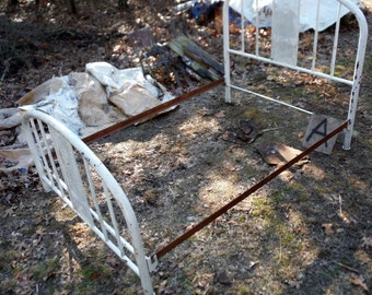 Antique Vintage Steel Steel Full Size Bed with Rails - ID # A - Bus shipping or Local Pick Only