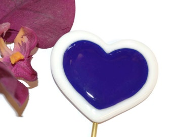 Fused Glass Heart Plant Stake, Valentine's Day, I Love You, Anniversary Gift, Garden Stake, Garden Art, Royal Blue and White