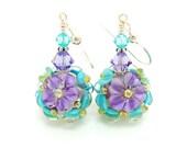 Purple Teal Floral Earrings, Lampwork Earrings, Glass Bead Earrings, Glass Earrings, Dangle Earrings, Beadwork Earring, Lampwork Jewelry