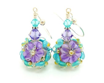 Purple Teal Floral Earrings, Lampwork Earrings, Glass Bead Earrings, Glass Earrings, Dangle Earrings, Beadwork Earring, Lampwork Jewelry