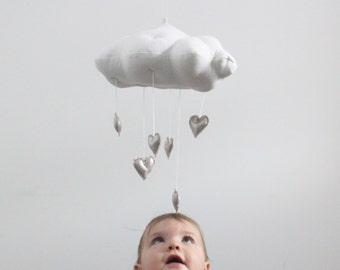 Metallic Heart Cloud Mobile in Gold or Silver - for baby nursery decor in white linen and metallic faux gold leather- Free US Shipping