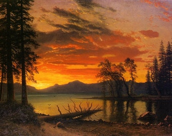 Vintage Albert Bierstadt painting sunset over lake reproduction image 8 x 10 image for framing.
