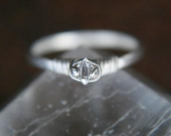 Micro Crystal Dazzler Ring © Ring Size 4.25 Herkimer ring-raw quartz crystal, solitaire-raw stone-diamond alternative,Lemurian Diamond, Bibi