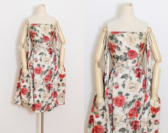 Vintage 50s Dress | 1950s vintage Craeme Model dress | red floral brocade dress xs/s | 5787