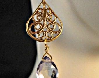 Mystic Quartz earrings,Quartz earrings,drop earrings,dangle earrings,filigree earrings,gemstone earrings,gemstone jewelry,gold earrings