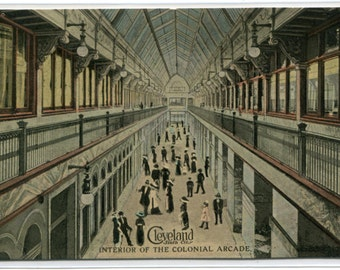Colonial Arcade Shopping Interior Cleveland Ohio 1913 postcard