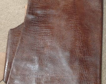 M308.  Stagecoach Distressed Brown Embossed Croc Leather Cowhide