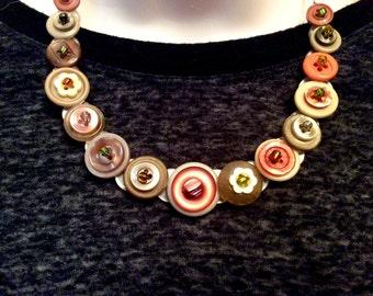 Subtle Hints of Harvest button necklace