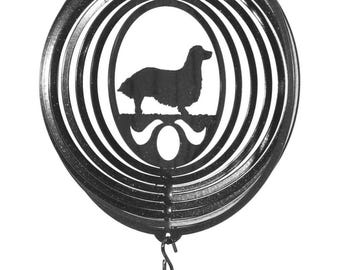 Long Hair Dachshund COMBO Mini Swirly Metal Wind Spinner