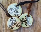 Spiritual Gift TRISKELE pendant SPIRAL Earth Keeper Triskelion Ancient Symbol Green Brown Inspirational stoneware pendant Reiki